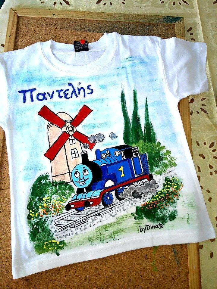Μπλούζα παιδική ζωγραφισμένη,Τόμας το τρενάκι - e-paidotopos.gr