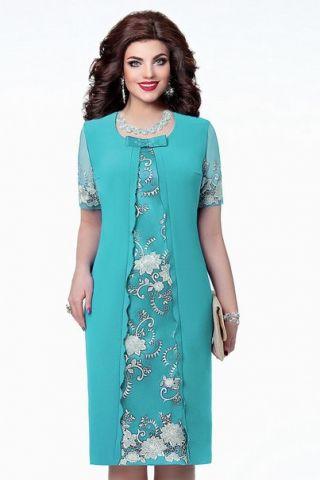Платье нарядное бирюзовое, вышивка - заказать и купить с доставкой в…