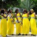 Largo de la gasa un hombro vestido de dama vestidos amarillos para dama de honor bata Demoiselle D'honneur