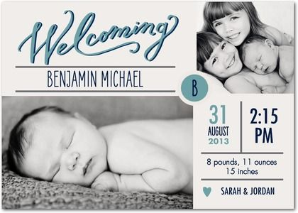 Send a photo birth announcement and include the family as well!