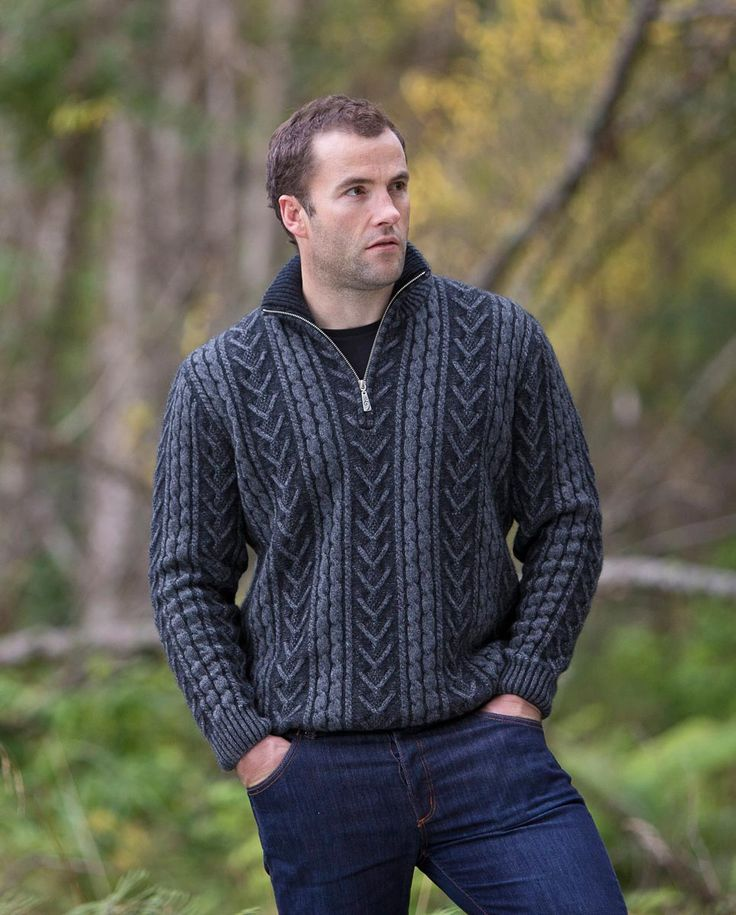 This is a great mens merino wool jumper with a heavy plated Aran texture with a half zip so you can regulate your body temperature and vent a bit of extra heat away. Available in two great colours.The texture of the wool over the whole garment is a chunky two tone texture. If you are looking for a jumper that is a little bit different then this is it. Made in New Zealand and available online from Gorgeous Creatures.