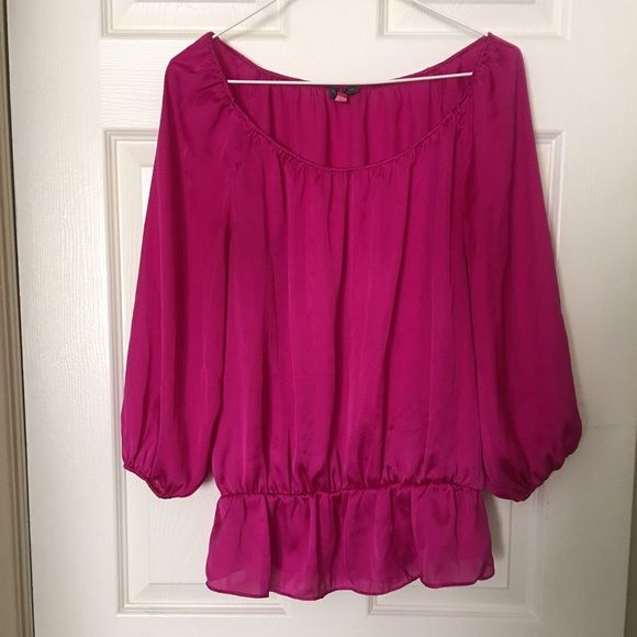 Vince Camuto Hot Pink Smocked Top Great condition and vibrant pink color smocked top by Vince Camuto. The top has long sleeves , no signs of wear and overall lovely . The top has a smocked design allowing a flattering shape for any body type. This top is held in a non smoking environment. Vince Camuto Tops Blouses
