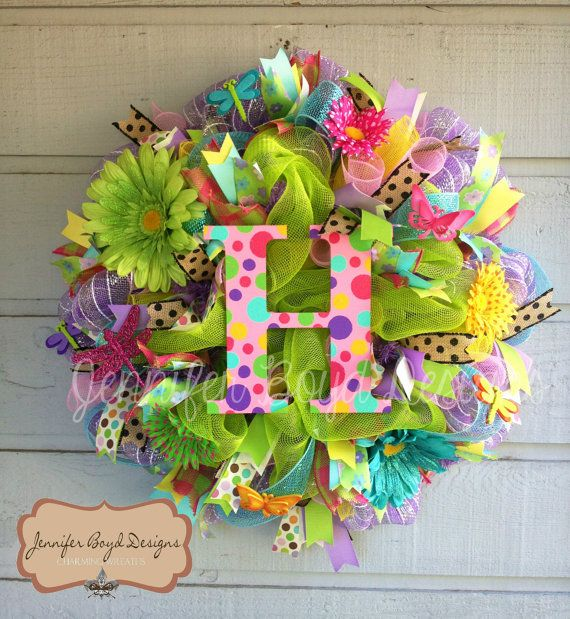 Summer or Spring Initial Monogram Deco Mesh Wreath with butterflies, dragonflies and gerbera daisies. $95.00, via Etsy.