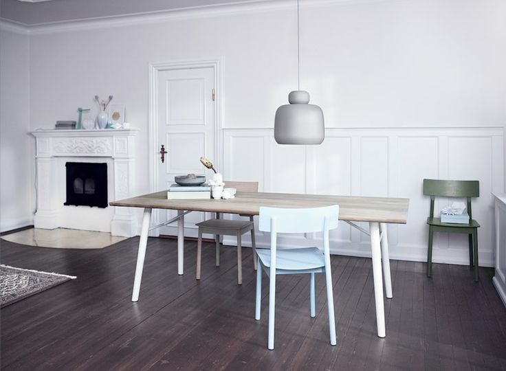 Split dining table have lots of space around for family or friends • Designed by @sayswhodesign  • Here complemented by Pause dining chairs and Stone pendant #diningtable #table #planktable #design #WOUDdesign