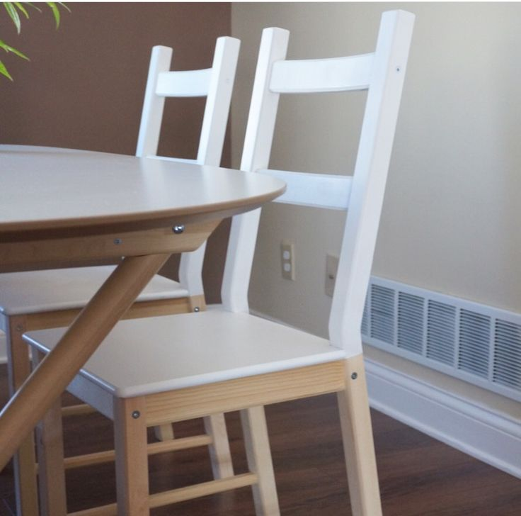 Half painted 25$ Ivar chairs from IKEA to match with our amazing Slähult table. Pretty satisfied with the result!