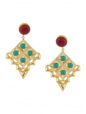 Red Onyx and Turquoise Gold-plated Brass Earrings