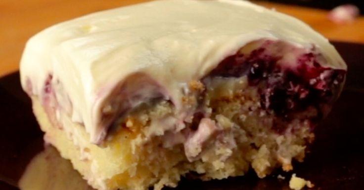 Blueberry Cheesecake Poke Cake(raspberries. Or strawberries?)