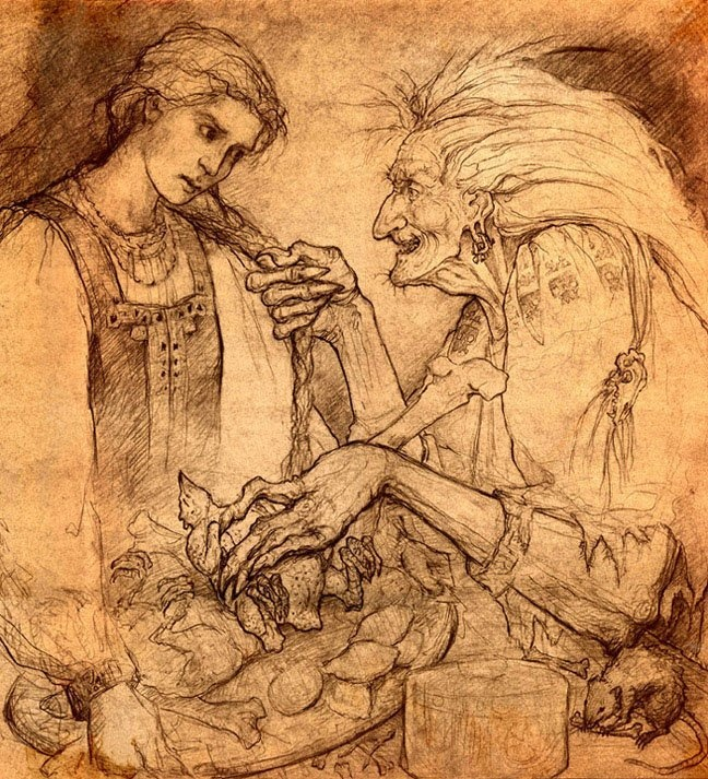 Love the sketchy quality and the brown tones.  Witch Baba Yaga illustration fairy tale  Forest Rogers