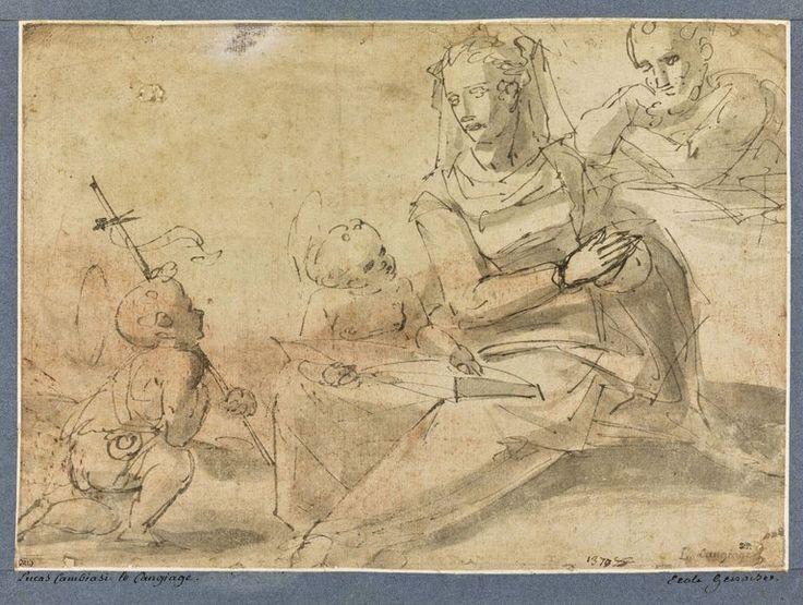 Le petit saint Jean avec la Sainte Famille et l'Enfant apprenant à lire - CAMBIASO Luca