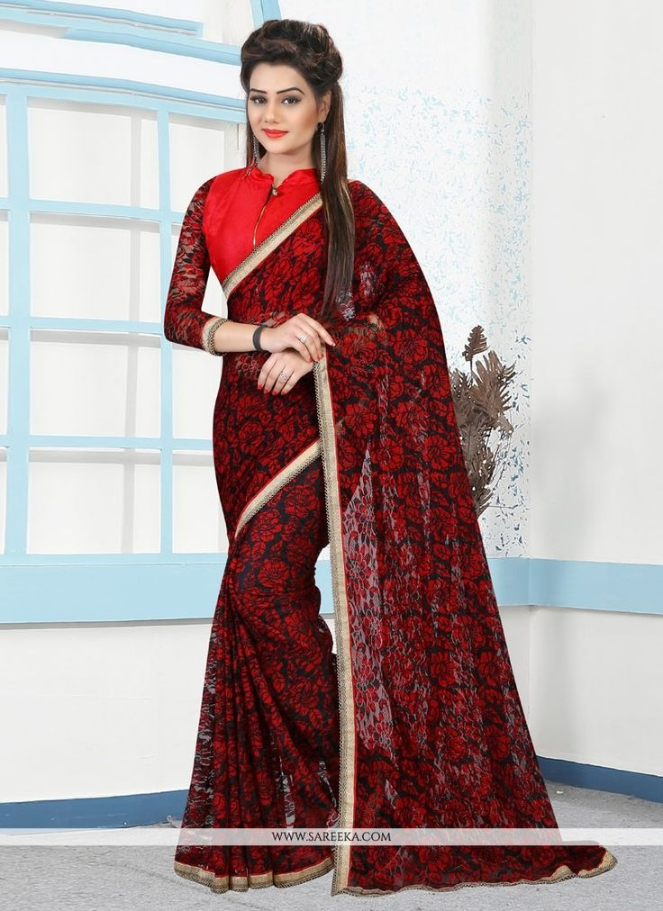 Style and design and pattern could be on the peak of your attractiveness once you dresses this black and red net casual saree. Beautified with lace and print work all synchronized properly through the...