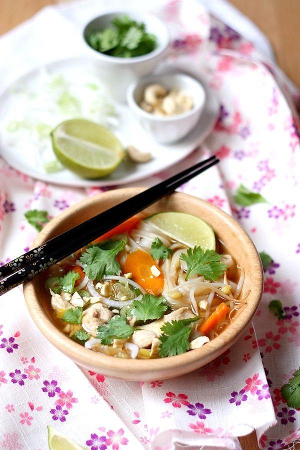 soupe de nouilles au poulet inspiration asiatique