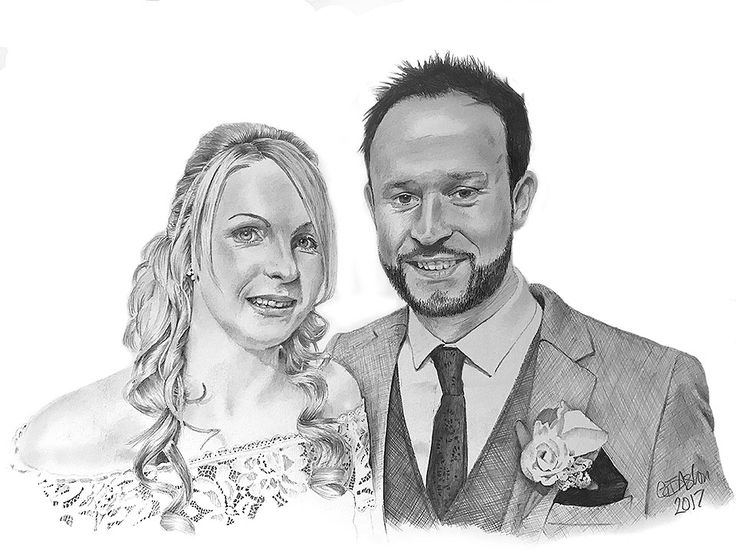 Wedding present drawing or 1st wedding anniversary present, paper