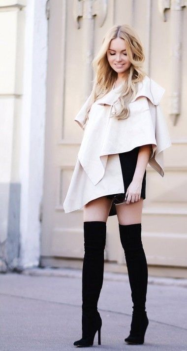 с чем носить высокие сапоги, высокие сапоги с короткой юбкой