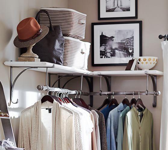 Attractive New York Wall Mount Wood Shelf With Metal Clothes Rod, 2u0027, Rustic Mahogany  Finish/Rustic Iron Finish | Laundry Room Ideas | Pinterest | Closet Shelves,  ...