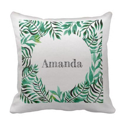 Name Silver Gray Grey Greenery Tropical Frame Throw Pillow - girly gifts girls gift ideas unique special