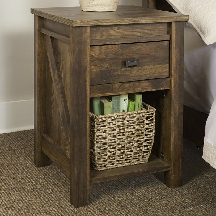 Features:  -One drawer for concealed storage and open storage for books or decorating accessories.  -Century barn pine finish influenced by aged barn wood that has spent a lifetime weathering the elem