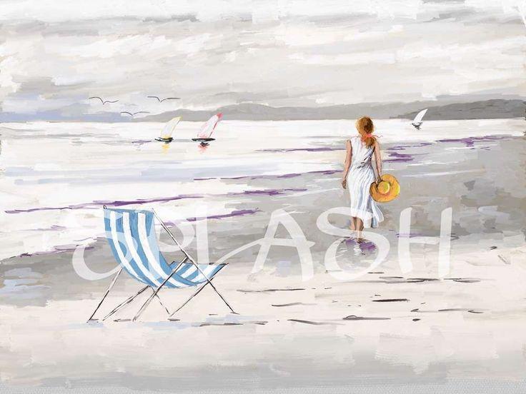 Cuadro moderno de mujer paseando por la playa. En colores suaves SP11