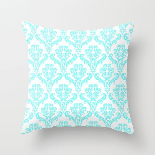 DAMASK AQUA BLUE Throw Pillow by MY PRETTY HOME | Society6 $20.00