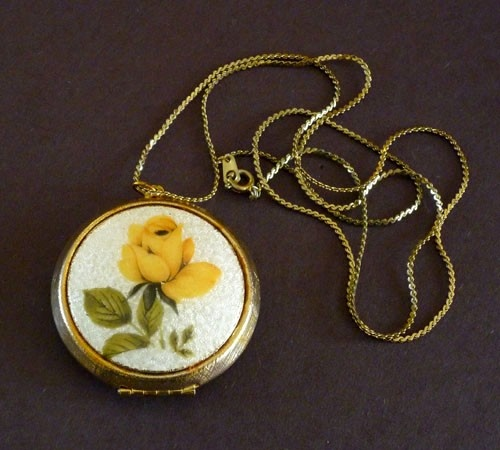 Guilloche Locket Pendant with Yellow Rose by MaisonChantalMichael, $58.00