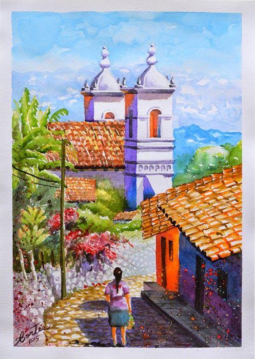San Antonio de Oriente por Hector Cortes - Pintor y fotografo hondureño Acuarelas (watercolor) de Tegucigalpa y Yuscaran, Honduras