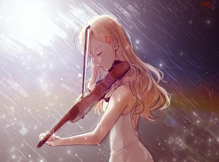 Anime Girl Kaori Miyazono Cry In Rain Wallpaper - DreamLoveWallpapers