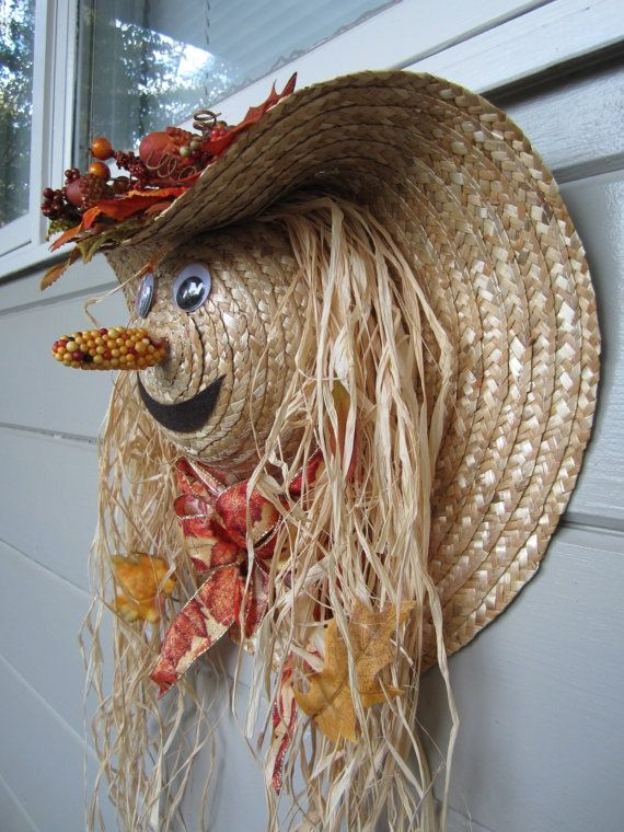 autumn door decorations | Fall Harvest Scarecrow Door Decoration by ritzywreaths…