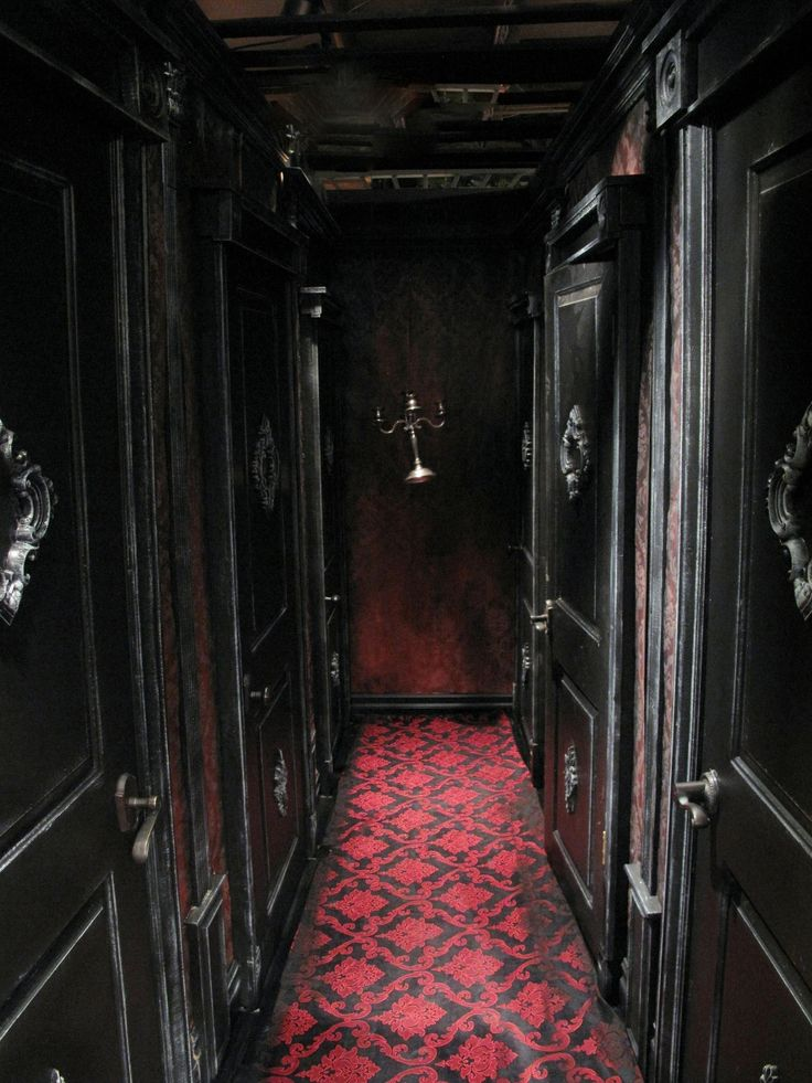 Haunted hallway of the Blackstone ManorGothic Hallways, Black Hallways, Dreams, Dark Brown, Gothic Decor, Red Carpets, Dark Hallways, House, Victorian Interiors