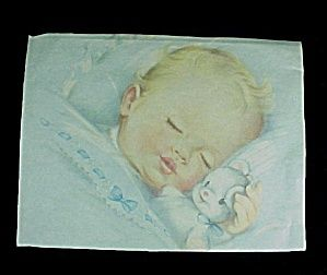 Darling Sleeping Blonde Baby Boy cuddling with his Teddy Bear. Beautiful Nursery Decor.Used previously framed print which may have been cut down by previous owner. Found without frame.Measures 7 1/2 X 9 3/4 inches.Gently Used. Edges have been cut, one corner has a bit missing and at top there is a tiny 1/4 inch rub. I believe this could be matted and/or framed nicely.Price is for one.
