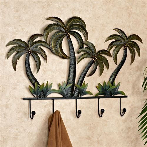 Palm Tree Tropical Metal Wall Hook Rack