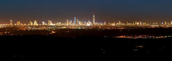 Beautiful Night View of the Gold Coast Skyline from Eagle Heights Hotel in Tamborine Mountain