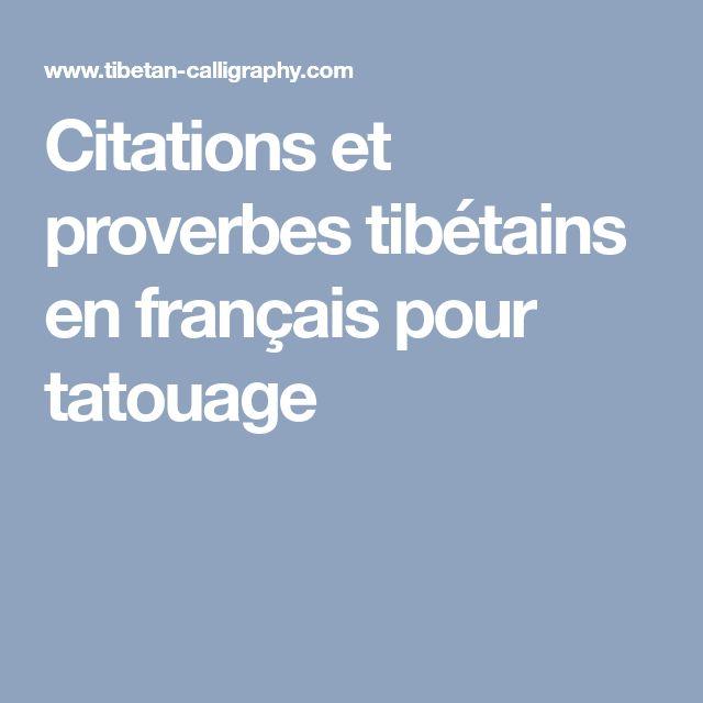 Citations et proverbes tibétains en français pour tatouage
