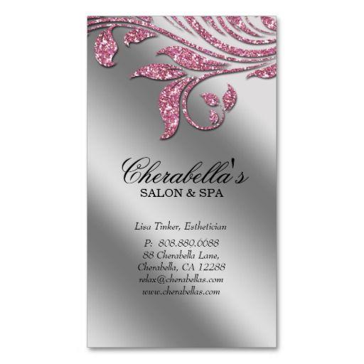 7 best ultra nails llc images on pinterest business cards salon business card elegant pink silver sparkle le wajeb Images