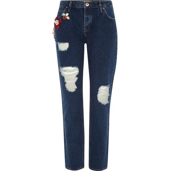River Island Dark blue brooch ripped boyfriend jeans (450 SAR) ❤ liked on Polyvore featuring jeans, blue, boyfriend / slouch jeans, women, destroyed boyfriend jeans, slouchy boyfriend jeans, blue denim jeans, ripped boyfriend jeans and distressed denim jeans