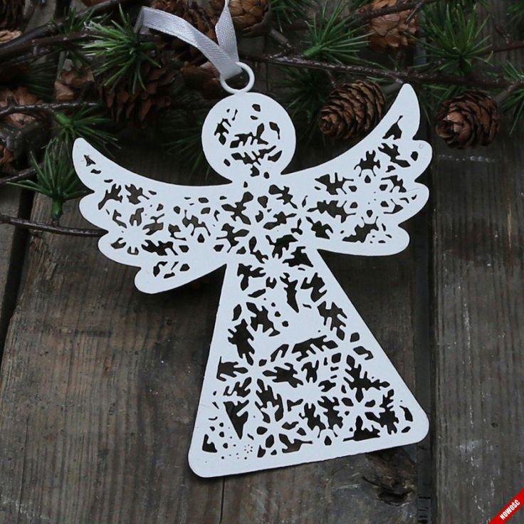 Świąteczna ażurowa zawieszka - Anioł w białym kolorze - NieMaJakwDomu