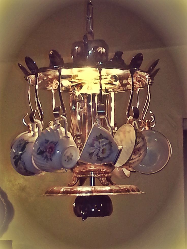 Tea Set Chandelier For My Daughter Teapot In Middle Surrounded By Teacups Hung On
