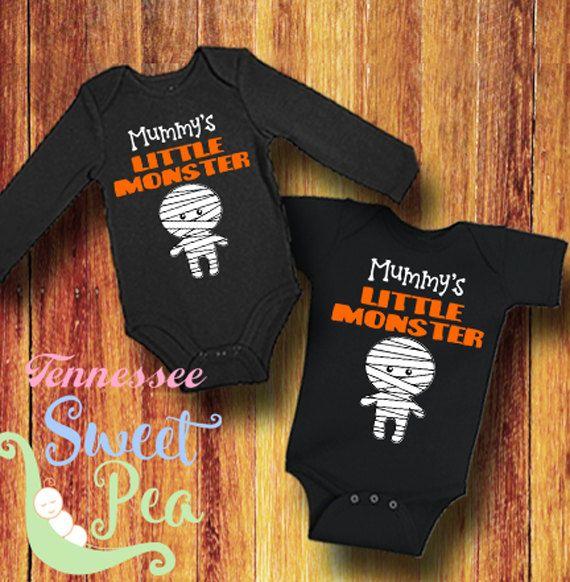 Mummy's Little Monster, 1st Halloween, Baby Halloween outfit, First Halloween, Mummy, Baby Shower Gift, Infant Halloween Bodysuit by TennesseeSweetPea on Etsy