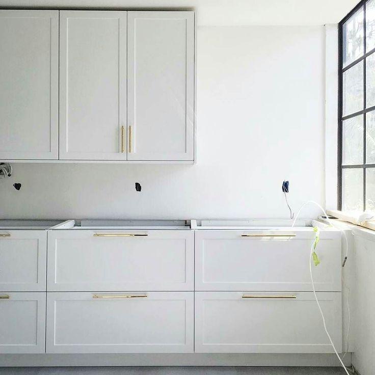 More progress in @amram1a's bright and open Supermatte White IKEA kitchen in Marina Del Rey CA. by semihandmade