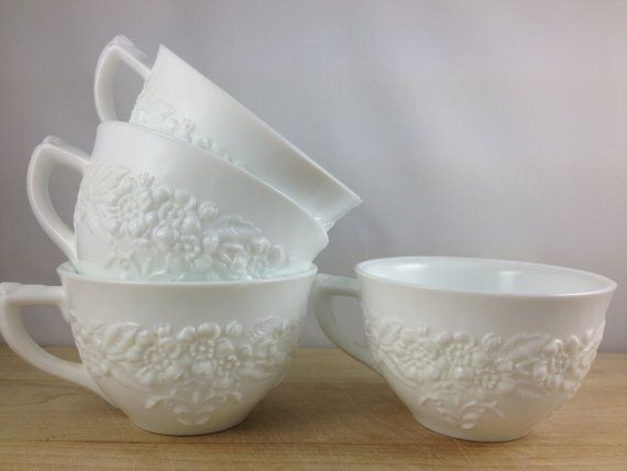 Vintage Milk Glass Cups/ Floral Milk Glass by AfterWhileCrocodile, $28.00