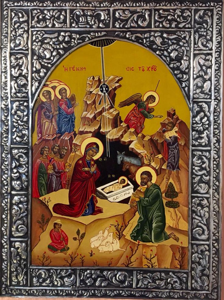 Icono Vizantino con plata Hecho a mano