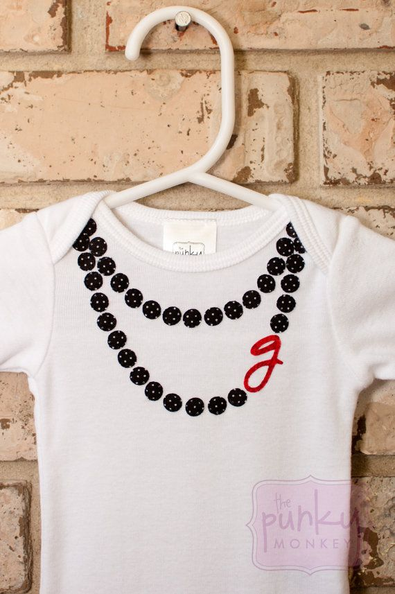 Black Pearls necklace onesie with initial by ThePunkyMonkey.