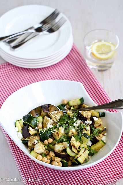 Grilled Eggplant & Zucchini Salad Recipe with Feta, Chickpeas & Mint | cookincanuck.com #vegetarian #recipe by CookinCanuck