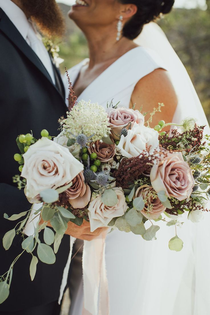 Dusty Pink And White Desert Wedding Floral Of Garden Roses Allium And Thistle With Greenery In Bridal Bouquet Pink Rose Wedding Bouquet Pink Wedding Flowers