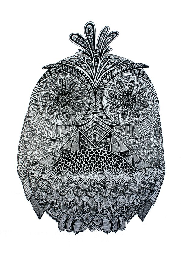 Owl Ilustration by Lucia Paul, via Behance - the hatching and shading on this is ridiculous. Love it!
