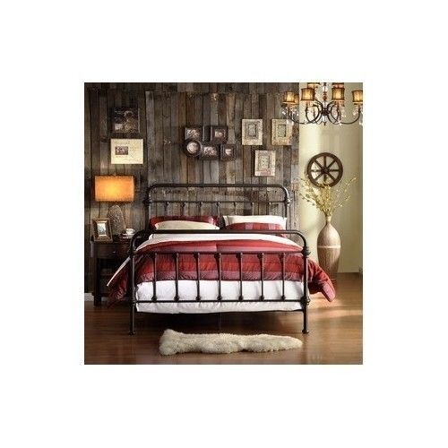 Victorian-Style-Bedframe-Twin-Head-Foot-Boards-Antique-Metal-Bedroom-Home-Accent