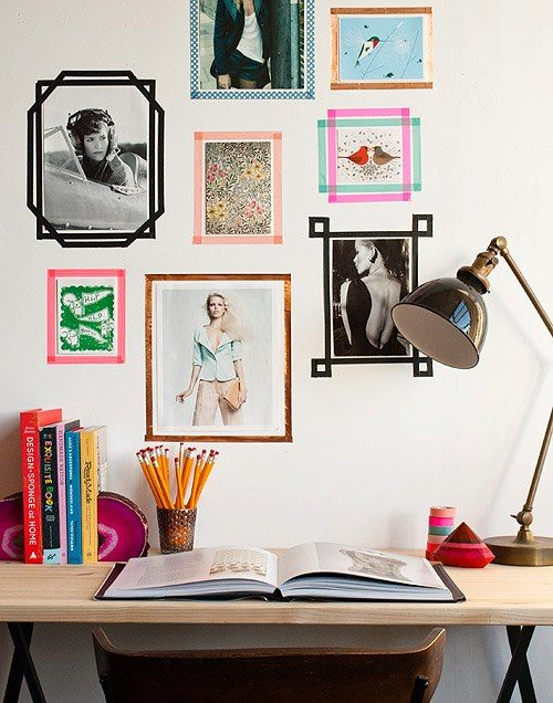 framed photos diretly on the wall is a great idea to decorate an office at home