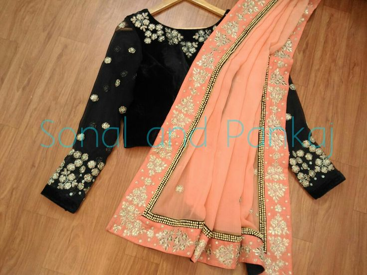 black or navyblue rawsilk blouse n pure georgette peach saree sonalandpankajWhatsapp for further details at +919669166763 12 December 2016