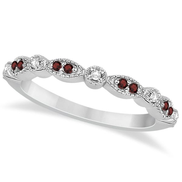 Marquise and Dot Garnet & Diamond Wedding Band 14k White Gold 0.25ct - Allurez.com