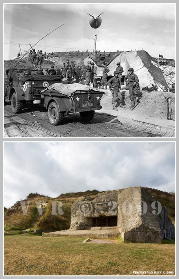 Then and now... Saint-Laurent-sur-Mer (© Normandy WW2 Then & Now)