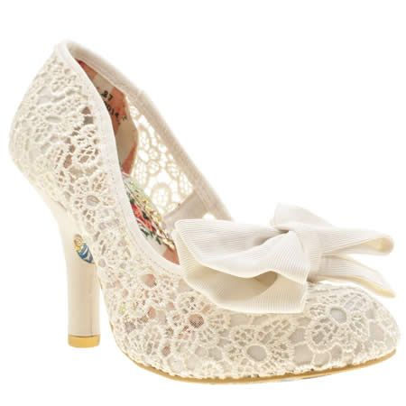 Irregular Choice prove why they're our fav alternative brand with popular wedding style, the Mal E Bow Crochet. The cream high-heel features crochet construction, with a fabric bow on the front for an adorable finish. A chic 10cm heel finishes nicely.