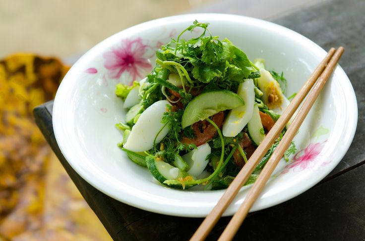 Luke Nguyen's recipe for this traditional simple salad from Laos uses a mixture of refreshing crunchy lettuce, watercress and herbs.